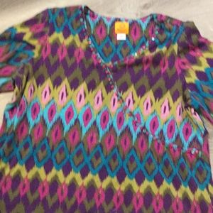 Ruby Rd. Woman~~Pullover Top with Beaded Neck.
